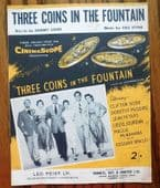 3 Three Coins in the Fountain vintage 1950s sheet music theme song from film