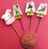 4 vintage margarine advertising pins Blue Band Zeeuws Meisje Dutch food badges A