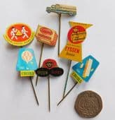 7 vintage Dutch pin badges margarine cheese advertising Croma Eyssen Remia G