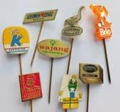 8 vintage Dutch pin badges margarine cheese advertising Brio Wajang Blue Band C