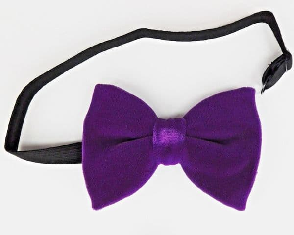 Bright purple velvet bow tie pre tied vintage 1970s 1980s custom fit to any size