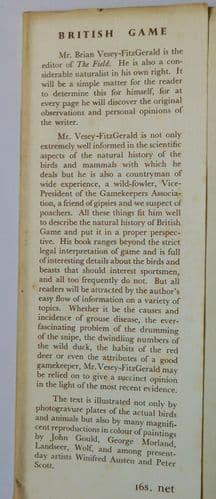 British Game Brian Vesey-Fitzgerald 1940s book 1946 deer birds wildfowl 1st