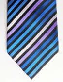 Cecil Gee silk tie striped blue and purple All silk