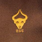 DSC kipper tie Vintage 1980s horned cattle ox skull emblem wide brown polyester