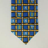 England v Australia Cricket tie Edgbaston 2001 ACB Check blue yellow 2000s NEW