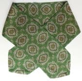 Green and grey Paisley cravat vintage 1950s 1960s classic casual mens neck wear