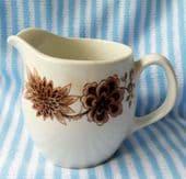 Royal Doulton Steelite jug for milk or cream Brown flowers vintage hotel ware
