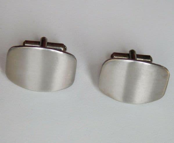 Smooth curved metal cufflinks mens unusual jewellery hs