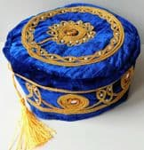 Tasselled smoking cap royal blue mens velvet hat gold tassel NEW size Small 55cm
