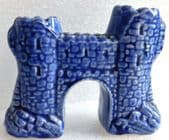 Vintage ceramic castle ornament blue stone archway battlements city wall gate