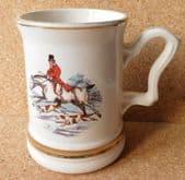 Vintage fox hunting tankard pint mug huntsman riding horse and hounds Glider