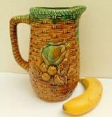 "Vintage Majolica jug pineapples bananas and tropical fruit 9"" tall decorative"