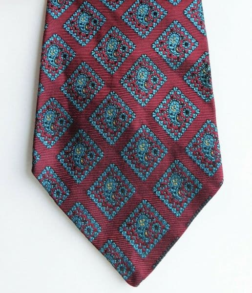 Vintage Paisley silk tie Airey & Wheeler 1970s English silk brocade red
