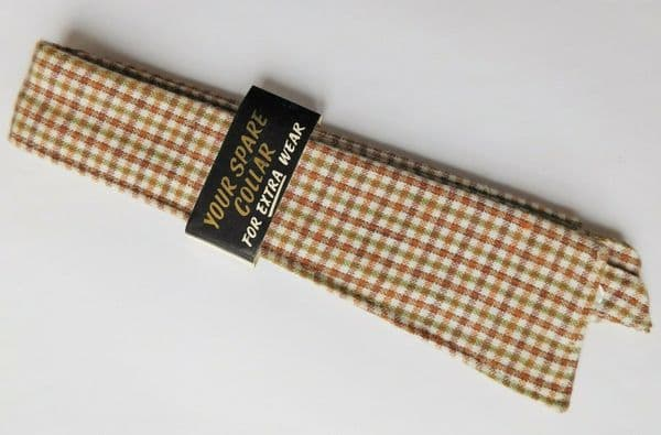 Vintage replacement shirt collar size 17 sew on green brown check 1960s UNUSED