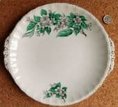 """Vintage serving plate for cake, sandwich Grindleys Cream Petal blossom 1950s 10"""""""