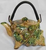 Vintage shell teapot decorative novelty sea side souvenir marked FOREIGN