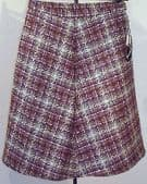 "Vintage tweed skirt UNUSED 1970s wool mix DOMINANT Waist 30"" 32"" purple"