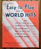 World Hits Easy to Play vintage 1950s piano music book Skaters Waltz Rhapsody