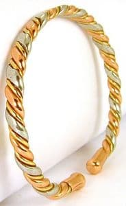 B41: Three Colour Bracelet With Flattened Centre
