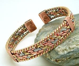 M20: Three colour Entwined  Magnetic Bracelet With Bands