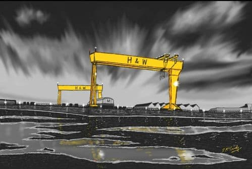 'Harland and Wolff on a Rainy Night' by Stephen McCurdy Art