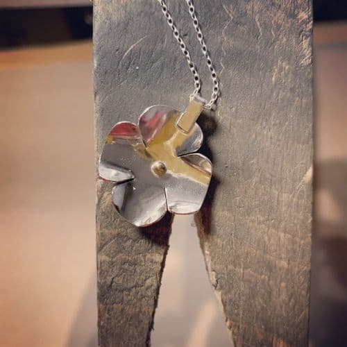 Flower Pendant Necklace by Lure Silver