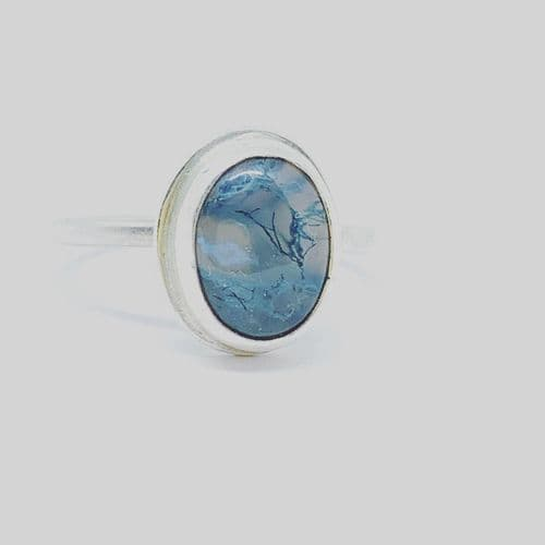 Sterling Silver & Moss Agate Cabochon Ring by Lure Silver