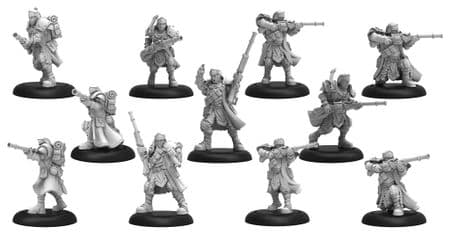Trencher Long Gunners   Cygnar Unit and Command Attachment (11) (resin/metal)