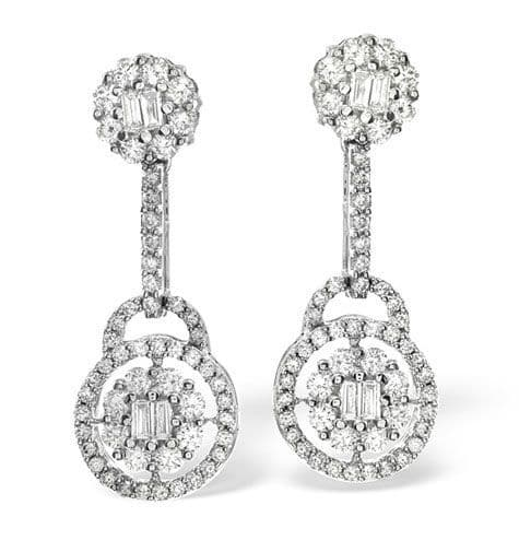18K White Gold 1.26ct Diamond Earrings