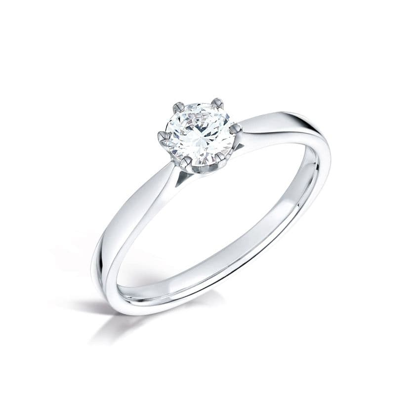 Wedfit low 6 claw rex setting diamond engagement ring daylight tapered shoulder  Round Brilliant