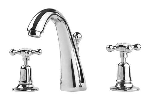 Barber Wilson 6459 3-hole basin mixer with pop-up waste and swan neck filler