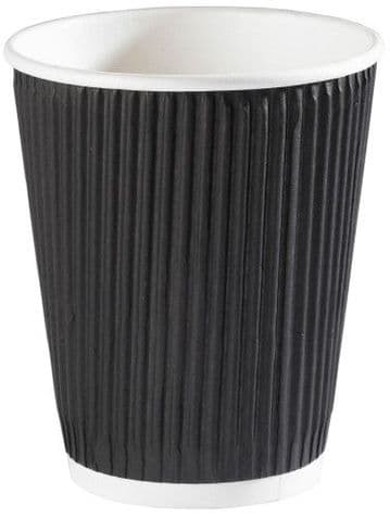12oz Black Ripple Disposable Hot Beverages Takeaway Coffee Cups