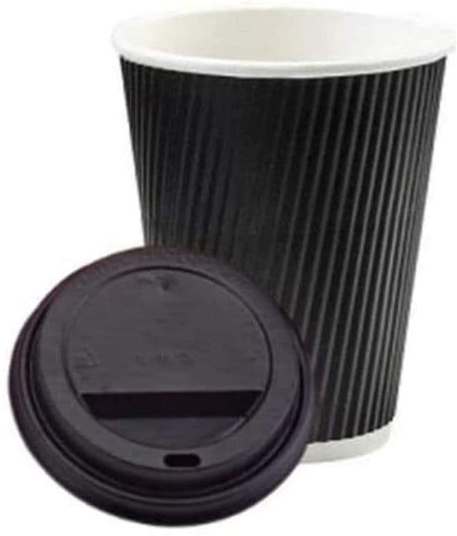 8oz. Black Ripple Paper Cups with Black Lids - Eco-Friendly 3 Ply Insulated Cups -500