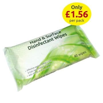 Hand & Surface Disinfectant Wipes - 40 Wipes