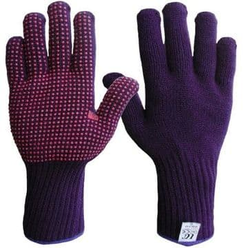 Thermal acrylic glove with red PVC dots to one side.