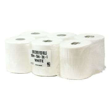 White 2 ply Centre Feed Rolls