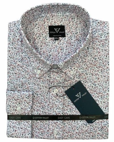 Cotton Valley 15739 L/S Floral Printed Shirt White/Wine