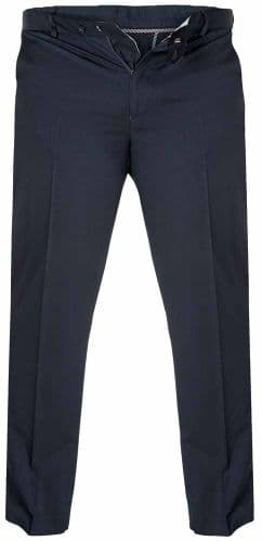 Duke Bruno Stretch Chino Trouser, With Expandable Waist, Navy D555 KS1465N