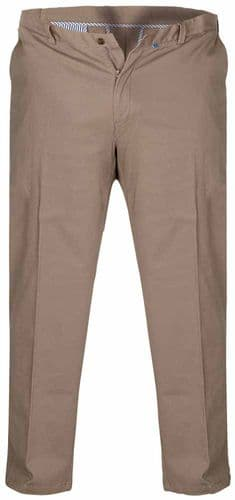 Duke Bruno Stretch Chino Trouser, With Expandable Waist, Stone D555 KS1465S