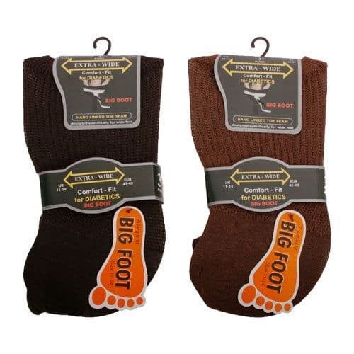 Extra Wide Roomy SE087 Diabetic Big Foot  Sock  3 Pair 11-14  Mixed Light Colours