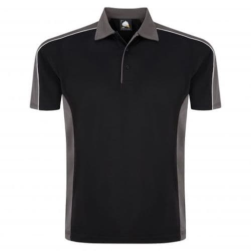 Sports 1198-10 Cut And Sewn Wicking Polo Black/Graphite £19.99