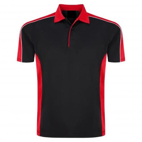 Sports 1198-10 Cut And Sewn Wicking Polo Black/Red £19.99
