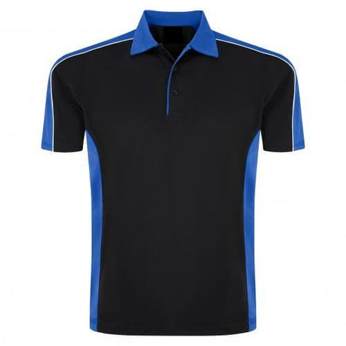 Sports 1198-10 Cut And Sewn Wicking Polo Black/Royal £19.99