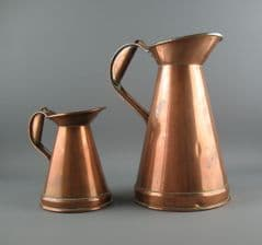 2 x Antique Victorian Copper Measures Jugs Large & Small