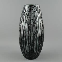 Modernist  Art Glass Dripped Black over Clear Textured Vase 25.5cm