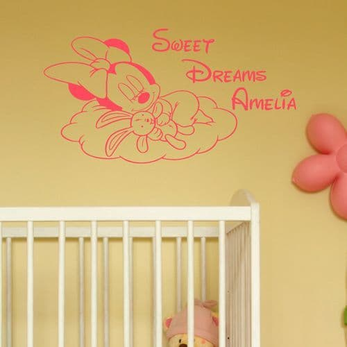 Personalised Baby Minnie Mouse Sleeping Sticker