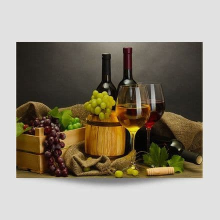 Bottle Of Wine With Grapes Wall Art