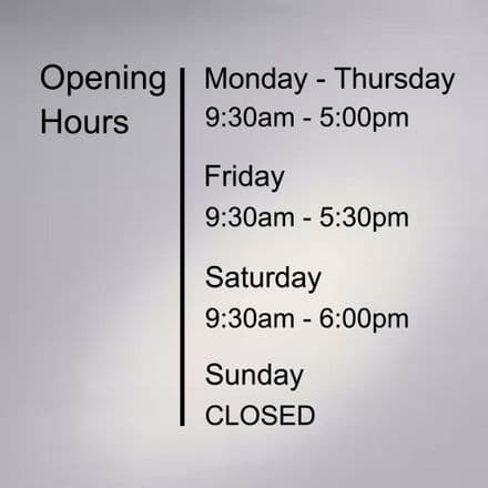 Business Hours Vinyl Decal