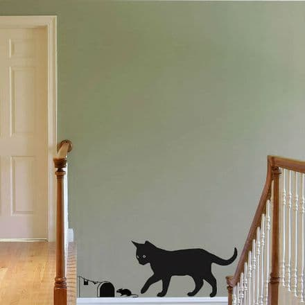 Cat Chasing A Mouse Wall Sticker