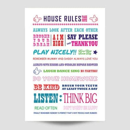 Colourful House Rules Wall Art